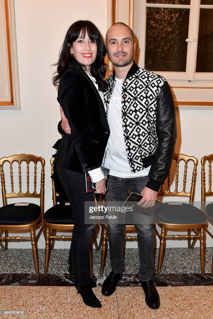 Eleonora Pera (L) and Alessandro Pera attend the Versace show during Milan Men's Fashion Week Fall/Winter 2018/19 on January 13, 2018 in Milan, Italy.