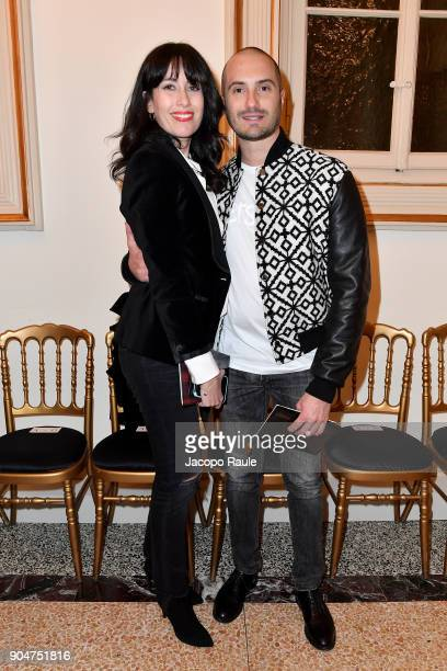 Eleonora Pera and Alessandro Pera attend the Versace show during Milan Men's Fashion Week Fall/Winter 2018/19 on January 13 2018 in Milan Italy