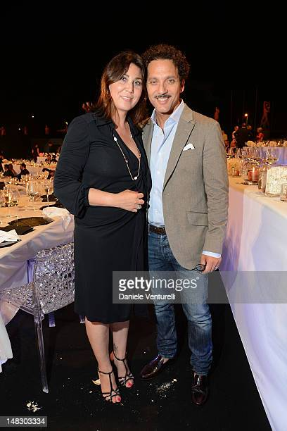 Eleonora Pratelli and Beppe Fiorello attend the OCTO The New Architecture of Time by Bulgari dinner at the Stadio dei Marmi on July 13 2012 in Rome...