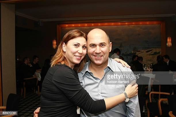 Eleonora Pratelli and director Ferzan Ozpetek attend a dinner party honoring Ferzan Ozpetek at Benoit New York on December 4, 2008 in New York City.