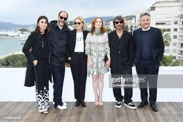 """Eleonora Pratelli, Luca Guadagnino, Marthe Keller, Julianne Moore, Pierpaolo Piccioli and Paolo Del Brocco attend the """"The Staggering Girl"""" Photocall..."""