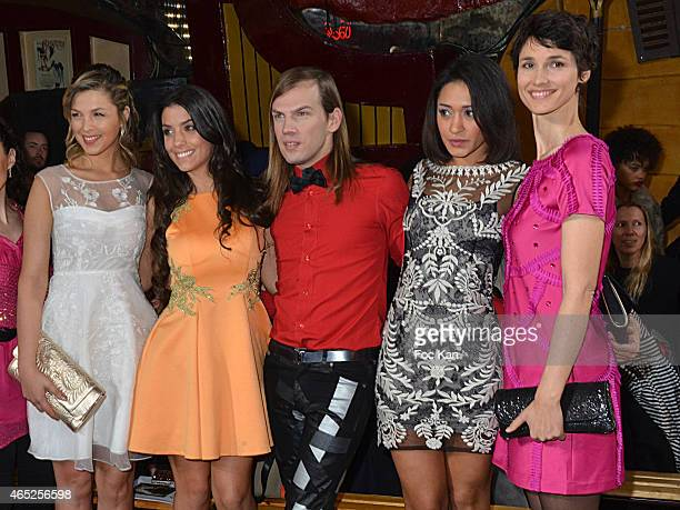 Eleonore Boccara, Ludivine Sagna, designer Christophe Guillarme, Josephine Jobert and Eglantine Emeye attend the Christophe Guillarme show as part of...