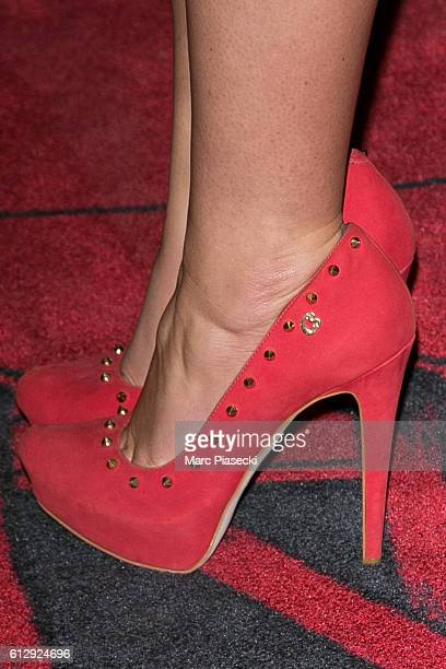 Eleonore Boccara shoe detail attends the 'Chantal Thomass Dessous Dessus' show Premiere at Le Crazy Horse on October 5 2016 in Paris France