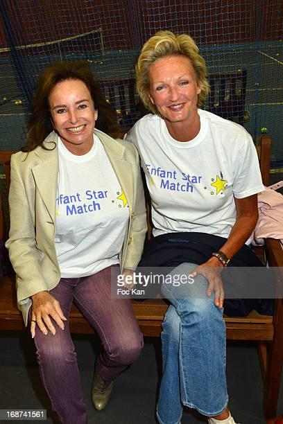 Eleonore de Larochefoucauld and Anne de Bourbon Parme Siciles attend the 'Sourire Gagnant Enfant Star et Match' Cocktail at the Sporting Club of...