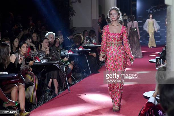 Eleonore Von Habsburg walks the runway at the Dolce Gabbana secret show during Milan Fashion Week Spring/Summer 2018 at Bar Martini on September 23...