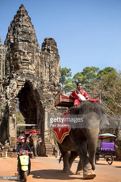 Elephant at Gates of Bayon Temple, Angkor Wat, Cam