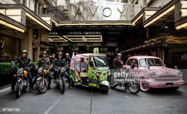 Elephant Family's âConcours dâelephantâ made up of a customised fleet of Royal Enfield bikes Ambassador cars and a tuk tuk take stock at the entrance...