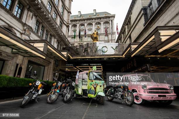 Elephant Family's 'Concours dâéléphantâ fleet made up of a customised Royal Enfield bikes Ambassador cars and a tuk tuk at the entrance to The...