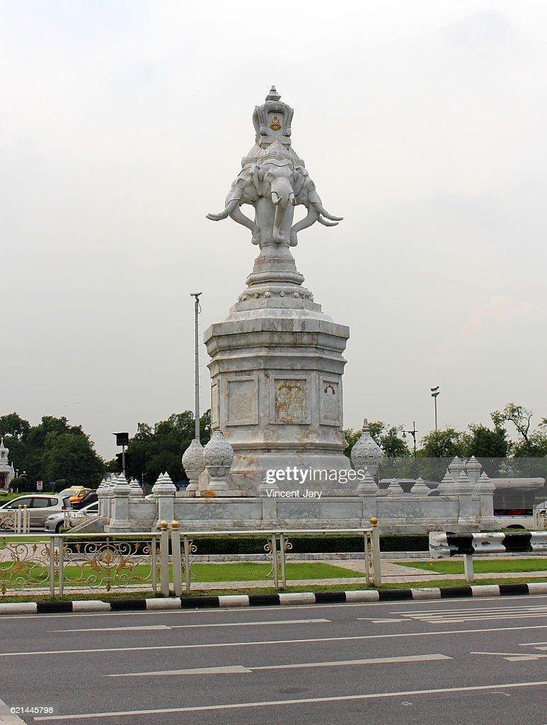 Elephant heads white marble statue Bangkok Thailand : Photo
