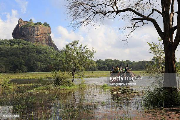 Elephant ride in lake by rock palace Sigiriya Central Province Sri Lanka Asia
