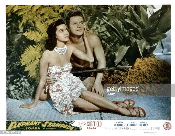 Elephant Stampede lobbycard from left Donna Martell Johnny Sheffield 1951