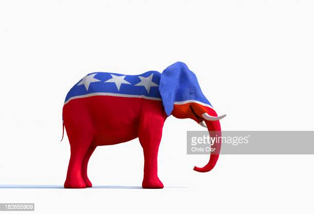 elephant statue painted red, white and blue - republican party stock pictures, royalty-free photos & images