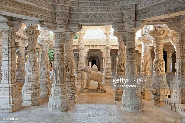 elephant statue, ranakpur jain temple, rajasthan, india - jain temple stock photos and pictures