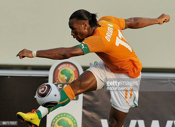 Elephant the ivory Coast football tean striker and team captain Didier Drogba controls the ball during their Africa Cup of Nations football match...