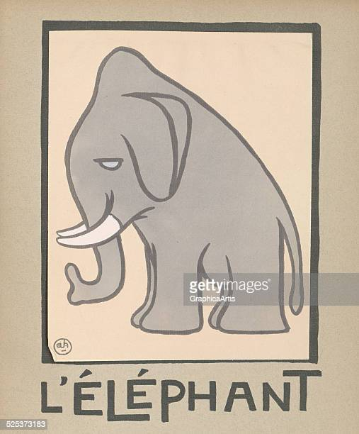 L'Elephant' vintage illustration for a children's book of an elephant lithograph by Andre Helle 1912