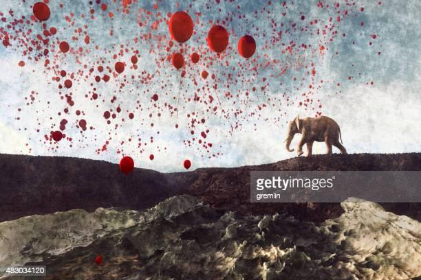 Elephant walking mit Millionen von party Ballons