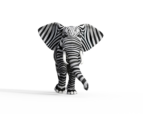 Elephant with zebra skin in the studio. The concept of being different. 3d render illustration 1163846305
