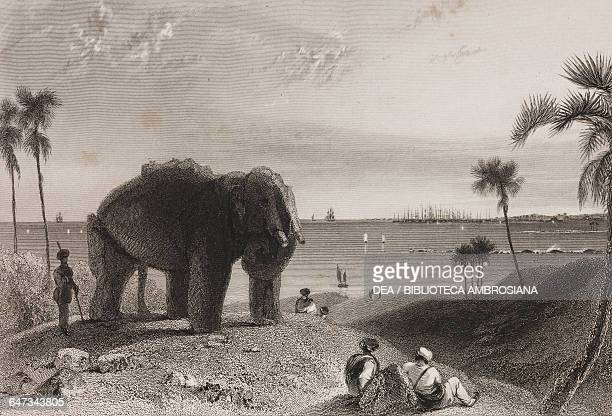 Elephanta Island near the port of Mumbai with an elephant engraving from the original drawing by William Daniell from The oriental annual or scenes...