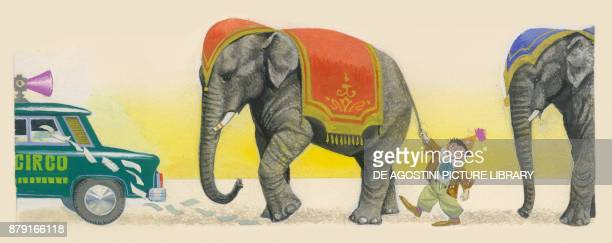 Elephants and clown following a car advertising the circus drawing