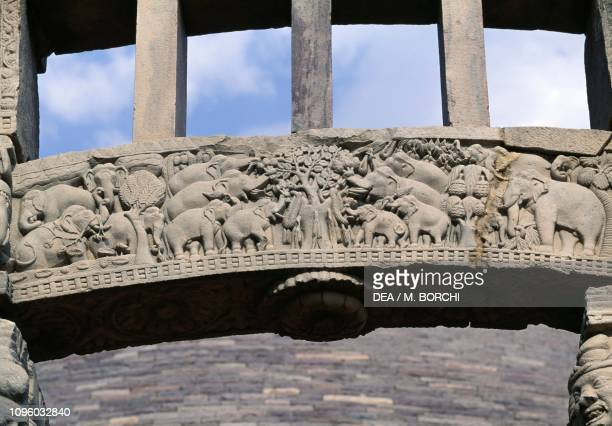 Elephants relief on the architrave of the western entrance Great stupa Sanchi Madhya Pradesh India 1st century BC