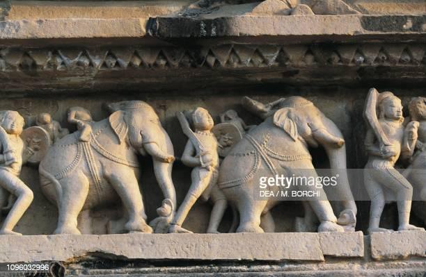 Elephants, relief on the base of Lakshmana temple, Khajuraho group of Monuments , Madhya Pradesh, India, 10th century.