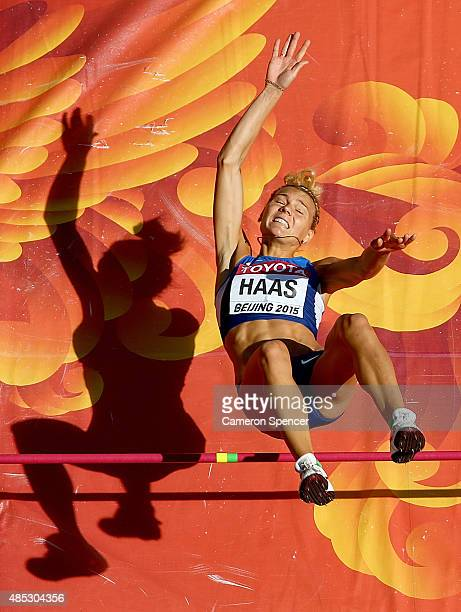 Eleriin Haas of Estonia competes in the Women's High Jump qualification during day six of the 15th IAAF World Athletics Championships Beijing 2015 at...