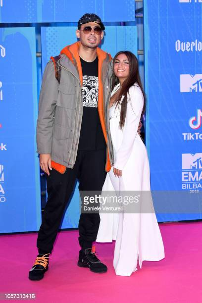 Elettra Lamborghini and Afrojack attend the MTV EMAs 2018 on November 4 2018 in Bilbao Spain