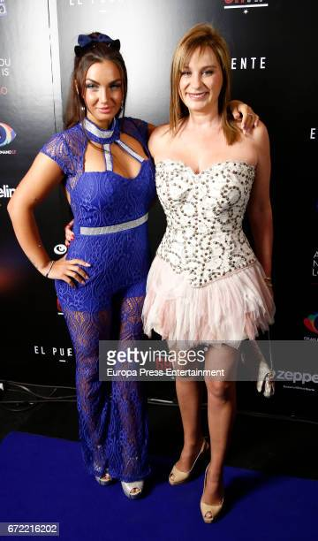 Elettra Lamborghini and Lola Sopeña attend Big Brother VIP party on April 21 2017 in Madrid Spain
