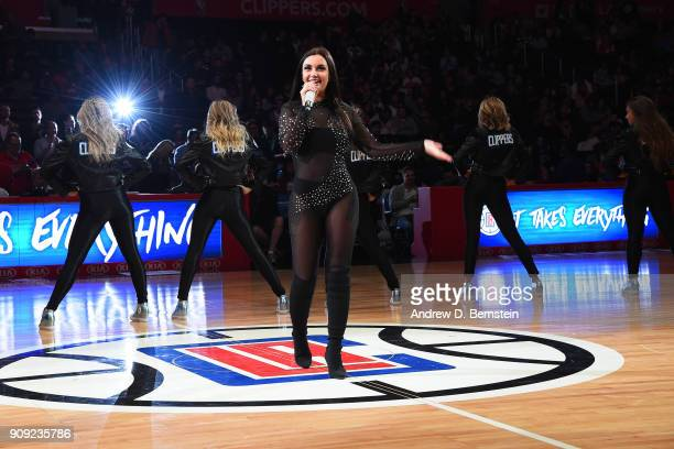 Elettra Miura Lamborghini performs during the Minnesota Timberwolves game against the LA Clippers on January 22 2018 at STAPLES Center in Los Angeles...