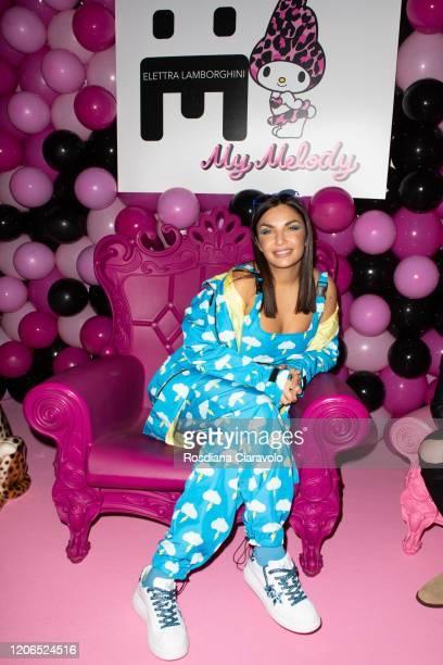 Elettra Miura Lamborghini poses for photographer at the Elettra Lamborghini FW 20 Collection Launch party on February 15 2020 in Milan Italy