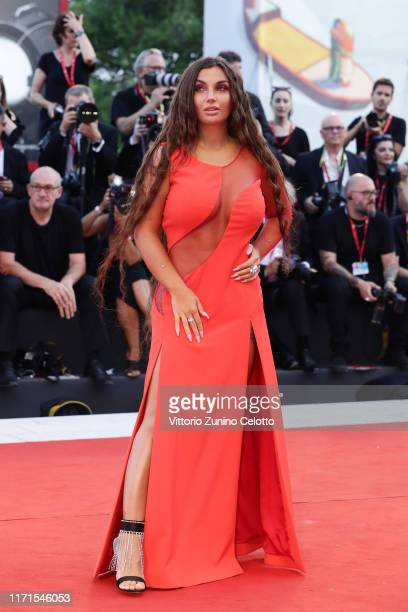 Elettra Miura Lamborghini walks the red carpet ahead of the The Laundromat screening during the 76th Venice Film Festival at Sala Grande on September...