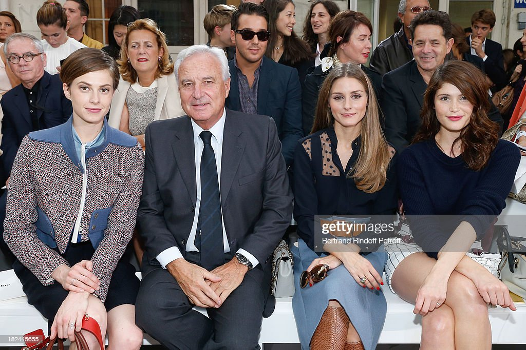 Elettra Rossellini, Co-Chief Executive Officer of Richemont Bernard Fornas, Olivia Palermo and Gemma Arterton attend Chloe show as part of the Paris Fashion Week Womenswear Spring/Summer 2014, held at Lycee Carnot on September 29, 2013 in Paris, France.