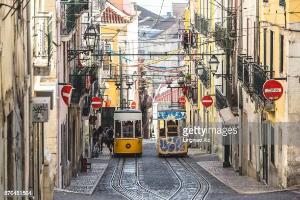 Elevador da Bica Funicular in Bairro Alto, Lisbon, Portugal