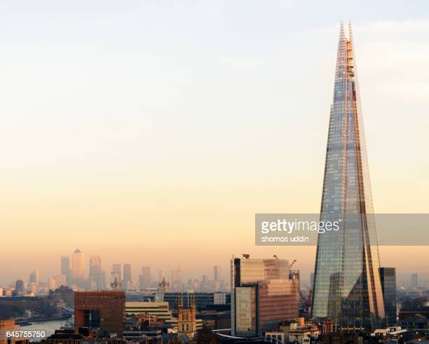elevated city skyline of london - shard london bridge stock pictures, royalty-free photos & images