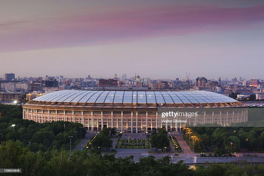 Elevated city view with Luzhniki Stadium : Foto de stock