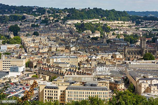 Elevated cityscape of Bath in Somerset