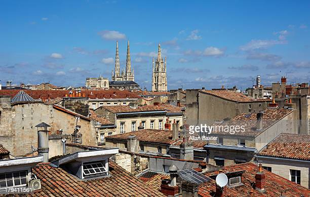 Elevated cityscape of Bordeaux