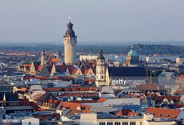 elevated cityscape of leipzig aldstadt - leipzig saksen stockfoto's en -beelden