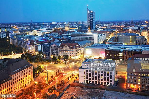 Elevated cityscape of Leipzig illuminated at dusk