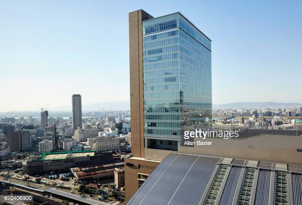 Elevated cityscape of Osaka rail station