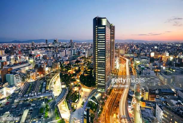 Elevated cityscape of Osaka with Namba tower
