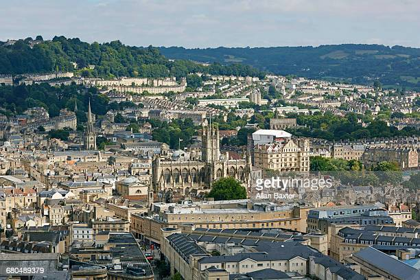 Elevated cityscape of Royal Bath Spa
