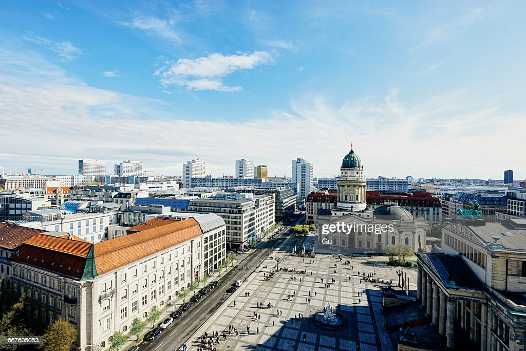 Elevated cityscape with German Cathedral and Geldarmarkt, Berlin, Germany : Foto de stock