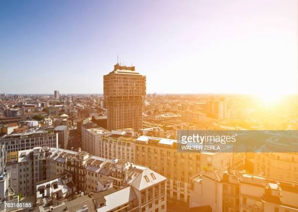 Elevated cityscape with rooftops and skyline, Milan, Italy