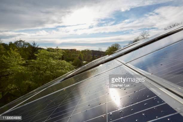 elevated close up of sunlit solar panels on house roof - responsabilité photos et images de collection