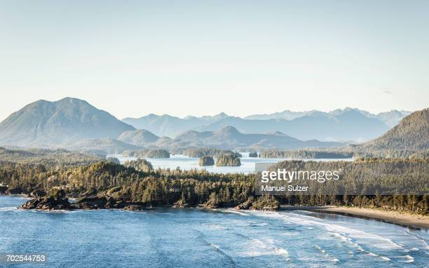 elevated coastal landscape, pacific rim national park, vancouver island, british columbia, canada - vancouver island stockfoto's en -beelden