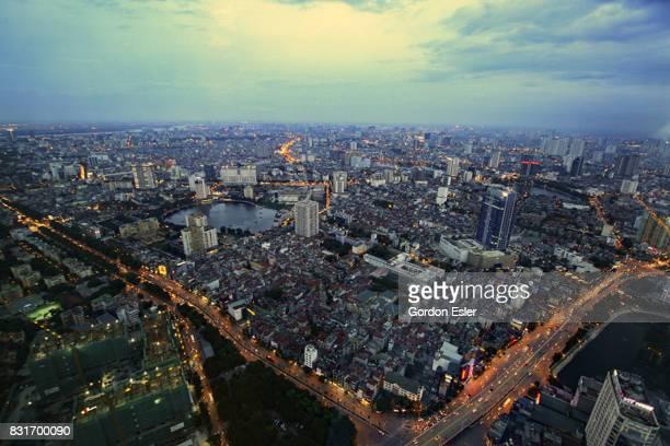 Elevated evening view of Hanoi.
