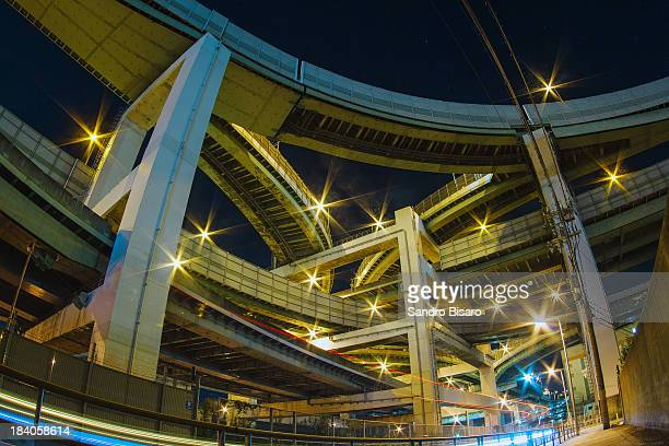 Elevated Highway Intersection at night in Osaka