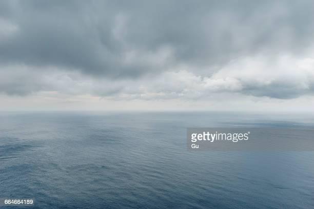 Elevated overcast seascape from Cap de Formentor, Majorca, Spain