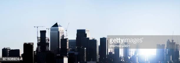 Elevated panorama of East London skyline at sunrise